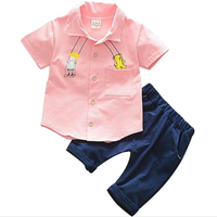 Summer Newest Design Baby Boys Clothing Set Plaid Shirt Top Short Pants Suit Boys Baby Sets