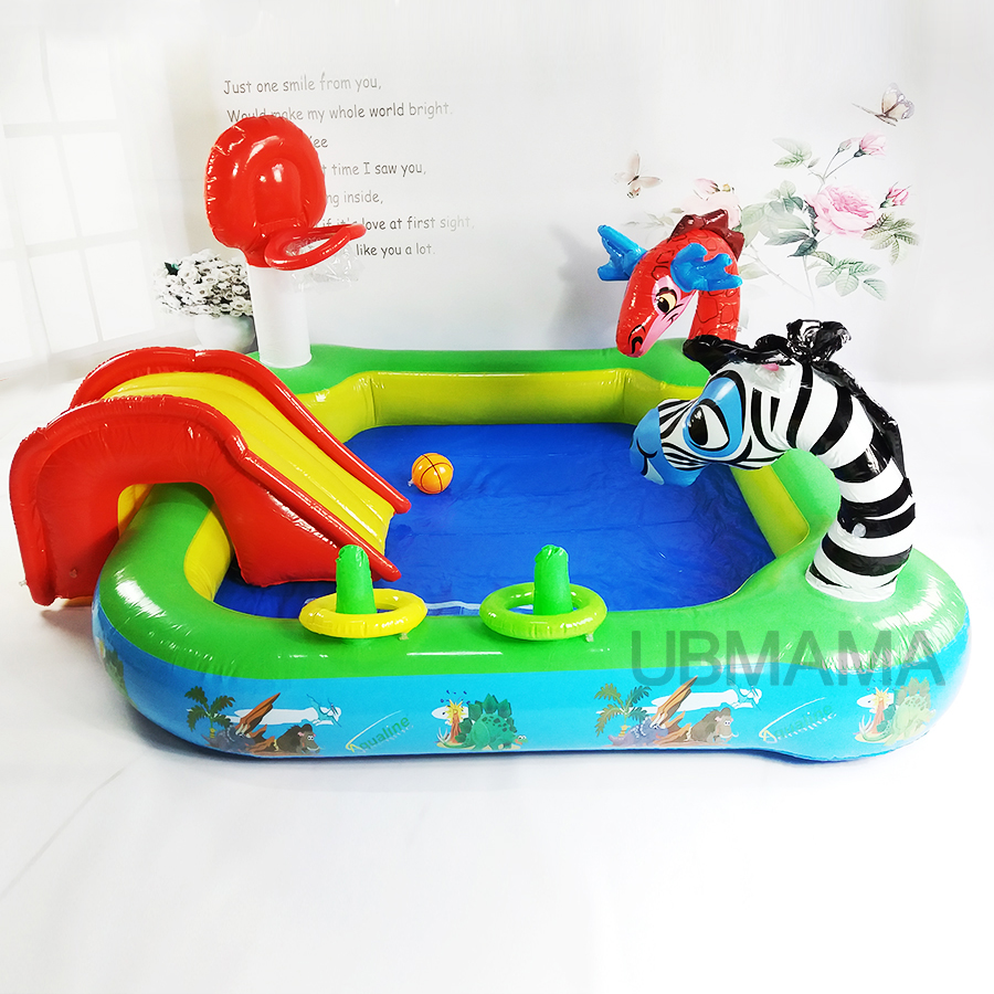 Multifunctional high quality color slide baby animal lovely pool basketball pool children swimming pool 175x175x105cm commercial sea inflatable blue water slide with pool and arch for kids