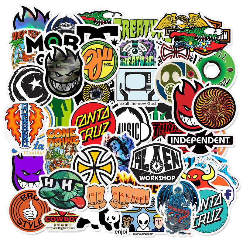 50 PCS Skateboard Fashion Brand Logo Waterproof Sticker For Luggage Car Guaitar Skateboard Phone Bicycle Laptop Stickers