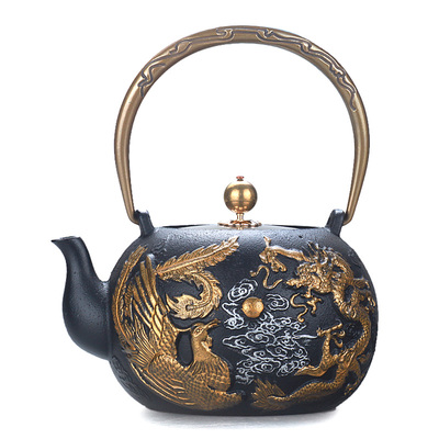 High-end cast iron retro teapot Chinese decoration dragon and phoenix water Japanese craft copper cover pot