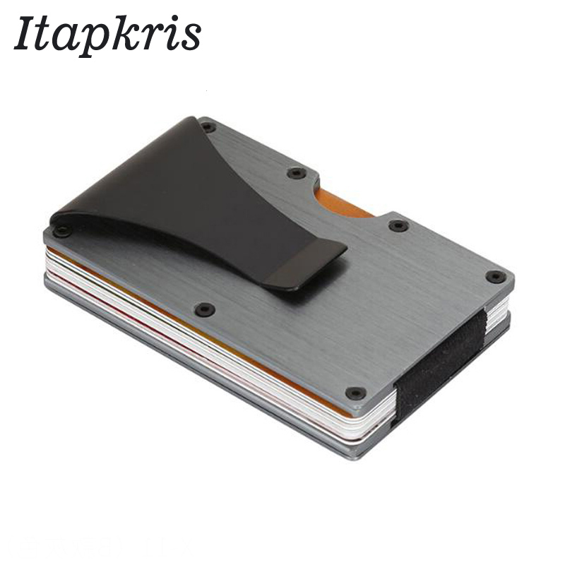 Fashion Metal Credit ID Card Holder Bank Name Bus Travel RFID Wallet Male Protector Cardholder Porte Carte