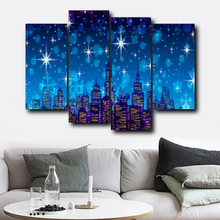 Laeacco Nordic 4 Panel Wall Artwork Cartoon Castle Posters and Prints Living Room Home Decoration Vintage Canvas Painting