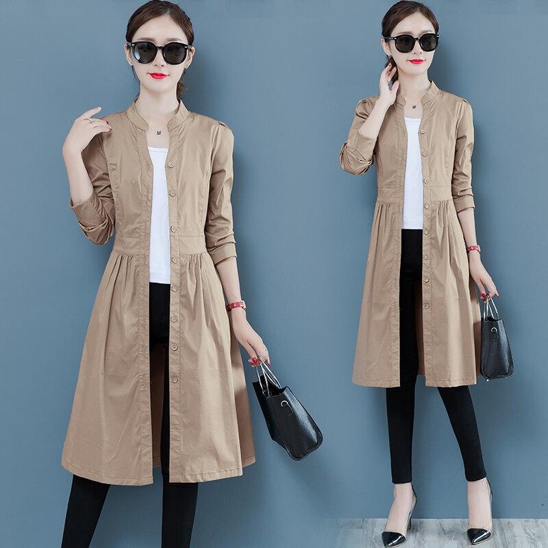 Spring Autumn Fashion   Trench   Coat Women Long Windbreaker Plus size Thin Long sleeve   Trench   Mujer Casaco Feminino Overcoat Female