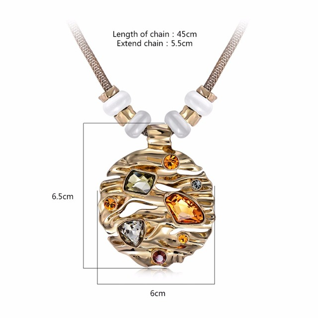 Gold Plated Round Pendant Necklace with Large Multicolor Austrian Rhinestone Crystal