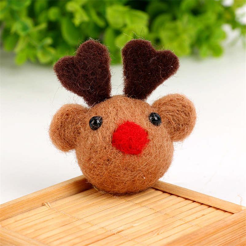 1PC Cute Wool Felt DIY Craft Elk Animal Pattern Poke DIY Kits Multiuse Christmas Tree Bag Decorations Brooch Children Hair Band