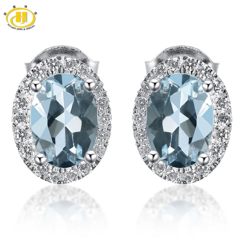 Hutang Trendy 1.573ct Natural Aquamarine Halo Stud Earrings Solid 925 Sterling Silver Gemstone Fine Jewelry Earring Women