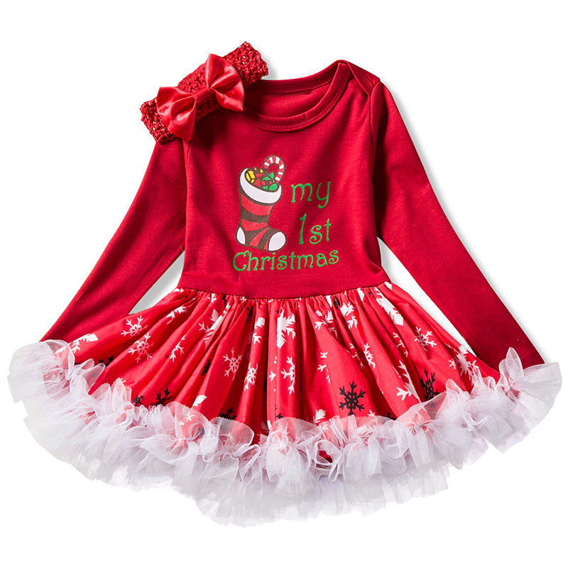 Infant Baby Girls Dress My 1st Christmas Cotton Dresses For Toddler Girls 1 Year 1st Birthday Party Outfits Kids Clothes new baby girls clothes infant 1 year 1st birthday outfits fancy unicorn party dress baby kid girl hairband rompers tutu dress