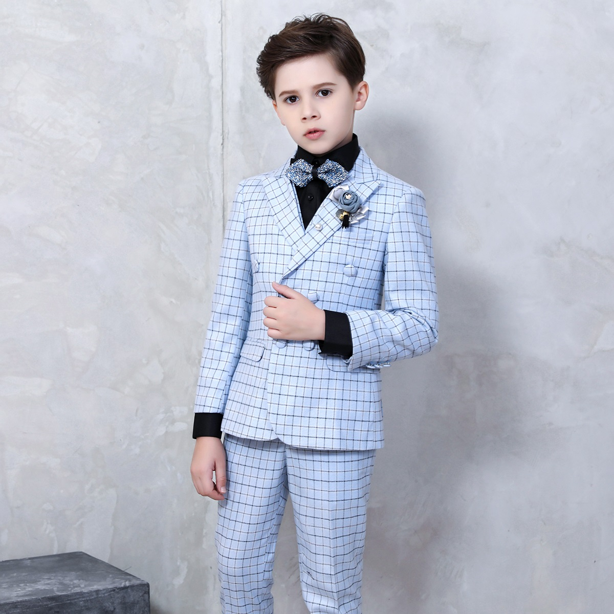 Бутик детская одежда мальчик официальный 2018 новый мальчик цветок девочка костюм Подиум платье костюм новый год платье набор наряды для Дня