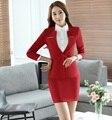 Novidade Red Outono Inverno Magro Moda Trabalho Profissional Ternos Com Coletes E Saia Das Senhoras Saia Ternos Blazers Roupas Femininas