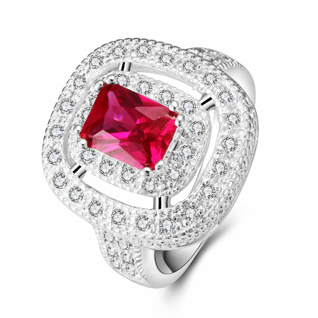 YaYI Fashion Women Jewelry Ring Red Zircon CZ  Silver Color Engagement Rings wedding Rings Party Rings Gift