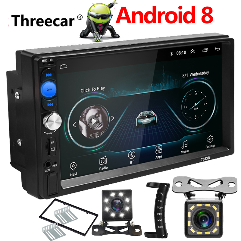Auto Radio 2 Din Android 8.0 Car Radio 7 Inch 1024*600 Car Audio Player GPS Navigation Wifi Bluetooth Multimedia Player Newest image