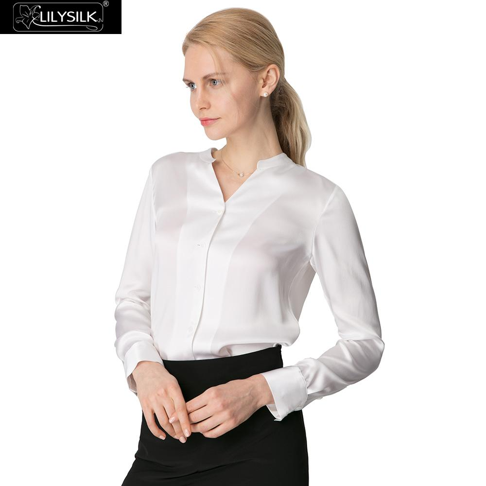 da5edfb48f8b4 ჱ Online Wholesale women silk satin blouse with collar and get free ...