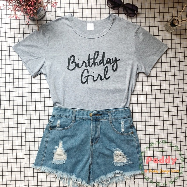 fb6b1fe9865 OKOUFEN Birthday Girl TShirt woman man unisex shirt casual fashion letter  print tees tops graphic