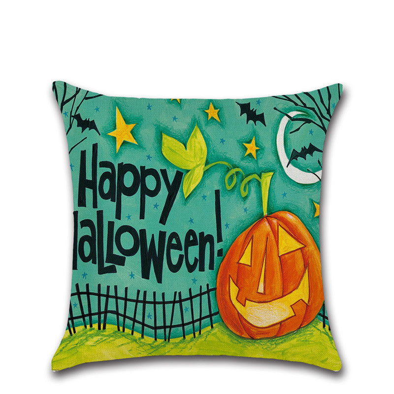 Funny spooky pumpkin lantern Halloween decoration for home party pillow case Cushion Cover seat chair sofa cartoon kids gift