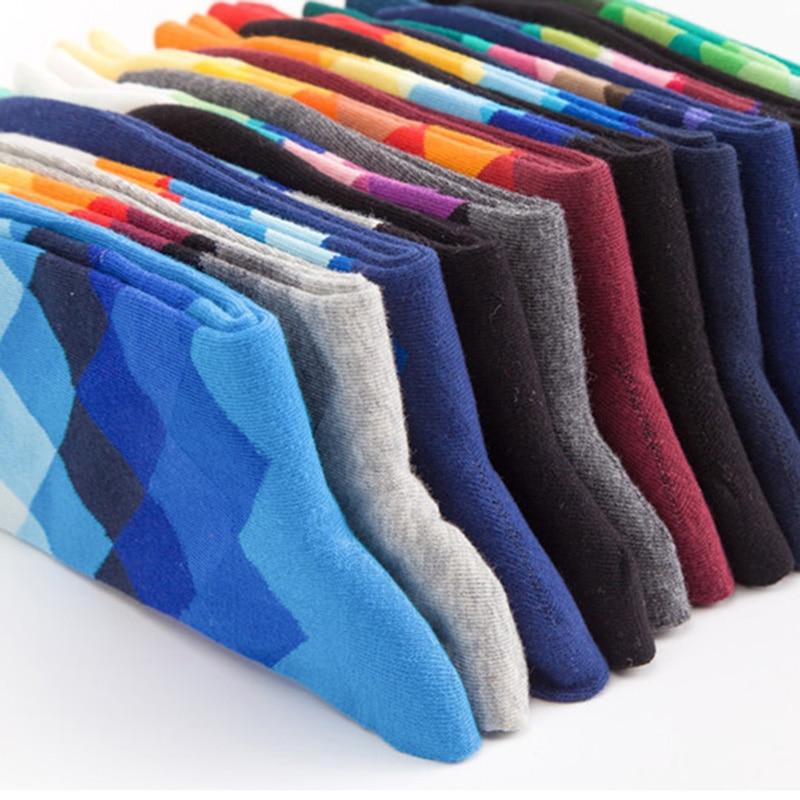 Image 4 - 10 Pairs/lot Plus Size Casual Colorful Happy Socks Plaid Pattern Men Funny Cotton Socks Warm British Style Breathable Skate Sock-in Men's Socks from Underwear & Sleepwears