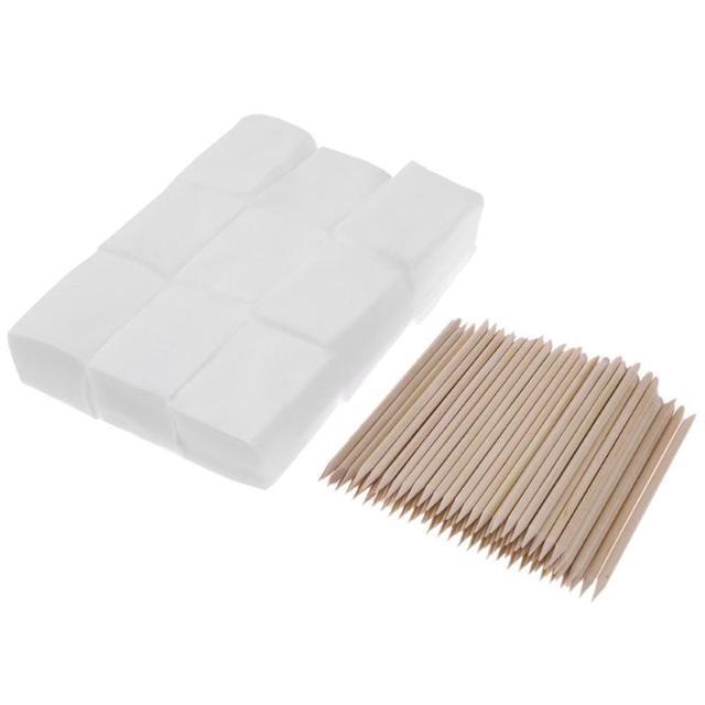 900pcs Nail Cotton Wipes UV Gel Nail Tips Polish Remover Cleaner Lint Paper Pad +100pcs Wood Sticks Cuticle Pusher Care Tools