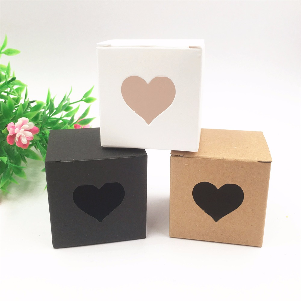 50pcs Per Lot Kraft White/black Heart Shaped Window Cupcake Boxes Wedding Chocolate Packing Party Single Candy/cookies Boxes