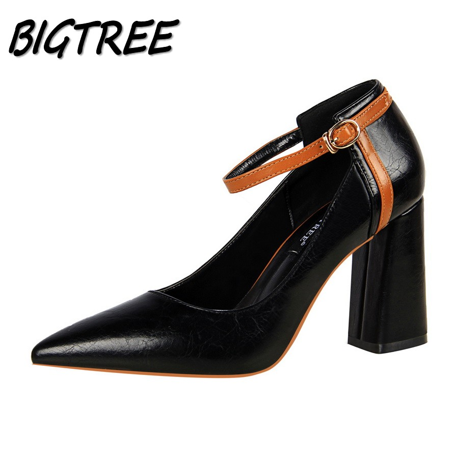 BIGTREE Women Square heel High heels Shoes Woman Pumps Ladies Fashion  Wedding Party sexy Mixed colors Buckle Strap Stilettos super high heels ladies sexy elegant platform sandals buckle strap open toe cover heel stilettos thin pumps party wedding shoes