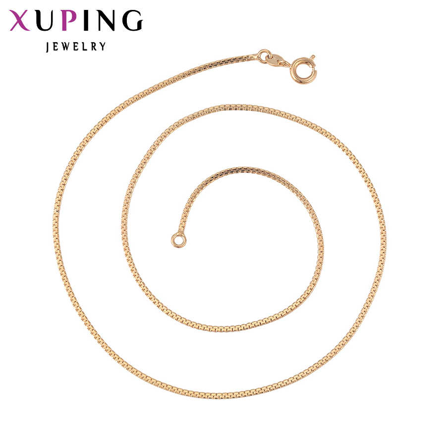 Xuping Fashion Necklace New Design Long Necklace Gold Color Plated Necklace Women Chain Jewelry Top Sale Gift 42609