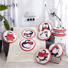 JaneYU 2019 Penguin Pattern Pillow+Blankets Quilt 100*150cm Multi-Purpose Cushion Quilts Sets office keep warm gift