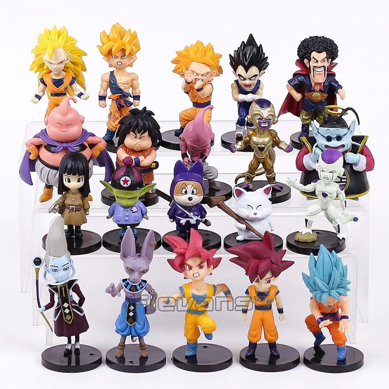 Dragon Ball Z PVC Figurines Jouets 20 pcs/ensemble Fils Goku Vetega Majin Buu Freezer Beerus Whis Marque Karin Gotenks