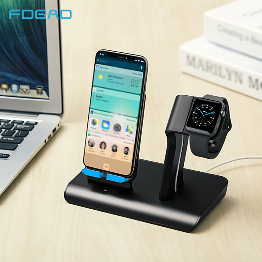 Fdgao 10W <font><b>QI</b></font> Wireless Charger For Apple <font><b>Watch</b></font> 5 4 3 2 iPhone 11 Pro XS Max XR X 8 2 in 1 Fast Charging Holder For Samsung S9 S10 image
