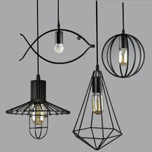 Retro Indoor Lighting Vintage Pendant Light LED Blub Iron Metal Lampshade Warehouse Style Decoration Light Fixture AC110-265V modern 7 color birdcage pendant light iron retro hanging lamp metal cage diamond lampshade indoor light fixture with led bulb