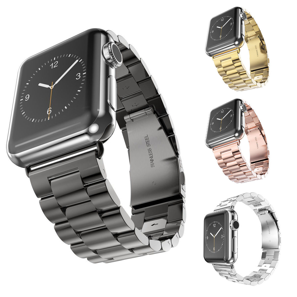 Stainless Steel Watch Band For iWatch Apple Watch Band Series 1 2 3 Strap Link Bracelet 38mm 42mm Classical Lock with Adapter fohuas luxury stainless steel link bracelet band for apple watch series 1 2 band iwatch stainless steel strap 42mm with adapters