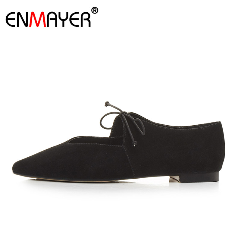 ENMAYER Hot Fashion Summer Women Flats Office Shoes Pointed Toe Flock Genuien Leather Shoes Women Lace-Up Classic Black new 2017 spring summer women shoes pointed toe high quality brand fashion womens flats ladies plus size 41 sweet flock t179