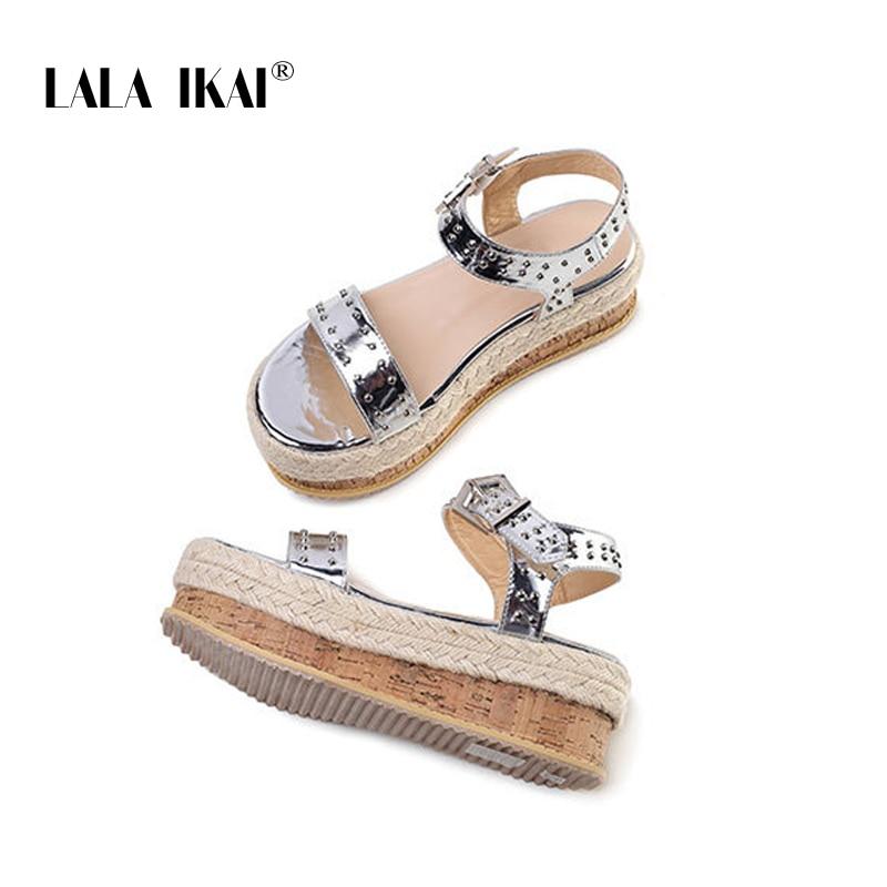 LALA IKAI Wedges Shoes For Women High Heels Sandals Buckle Strap Wedges Sandals Gold Silver Sandalia Feminina 014C3394 4
