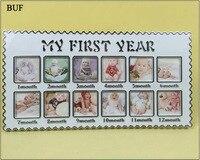 BUF Quadro Bebê 2 Polegada Criativo Novo Bron Recomendação do Quadro Da Foto Do Presente Do Bebê 12 Meses