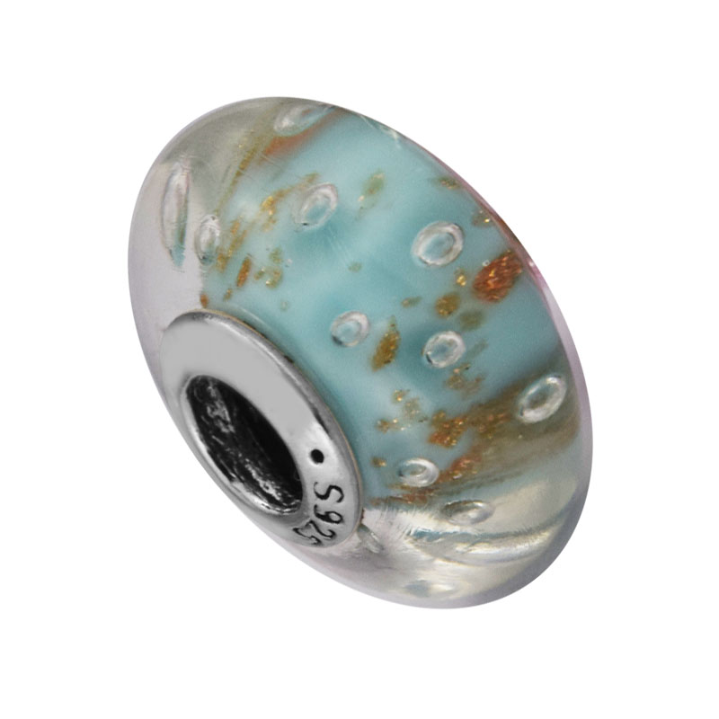 Fits for Pandora Charms Bracelets Mint Glitter Murano Glass Beads Original 100% 925 Sterling Silver Jewelry DIY Making Free Ship