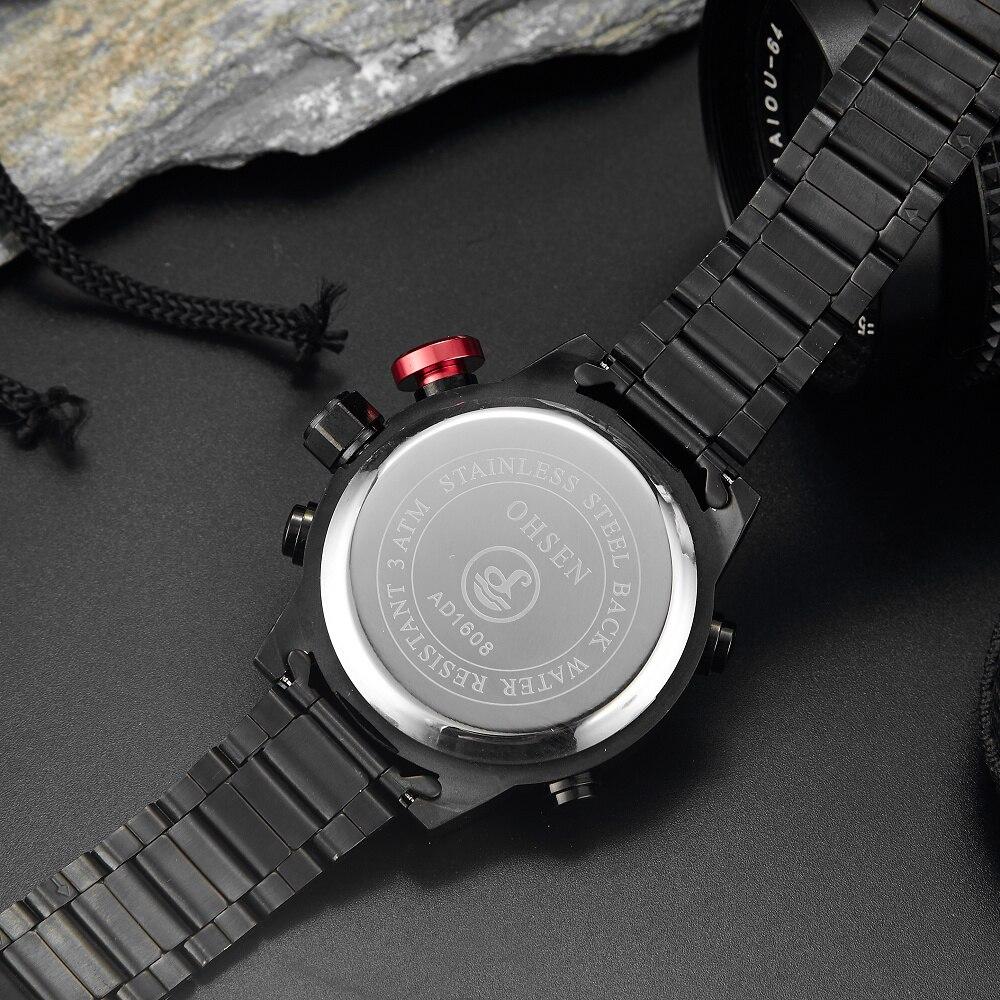 Top Brand OHSEN Volledige Staal Band Analoge LED Digitale Horloge - Herenhorloges - Foto 5
