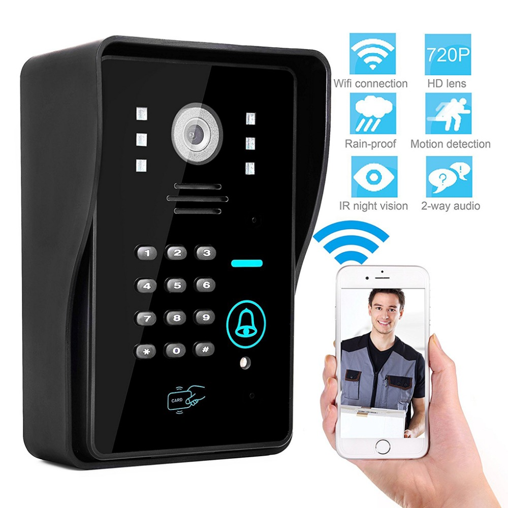 Door Bell Alexa WIFI Video Door Phone Intercom Night Vision WiFi Monitor Android/IOS Phone APP Control ID Card Keypads Unclock image