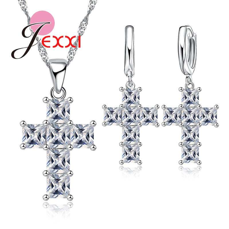 JEXXI Classic Cross Wedding Jewelry Sets Silver Sterling Crystal CZ Diamond Charm Pendant Statement Necklace Earrings Sets 2017