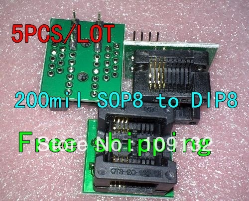 SOP8 TURN DIP8 WIDE SOP8 to DIP8 Programmer adapter Socket Converter for  SOP8 Wide 200mil(Wide) NEW