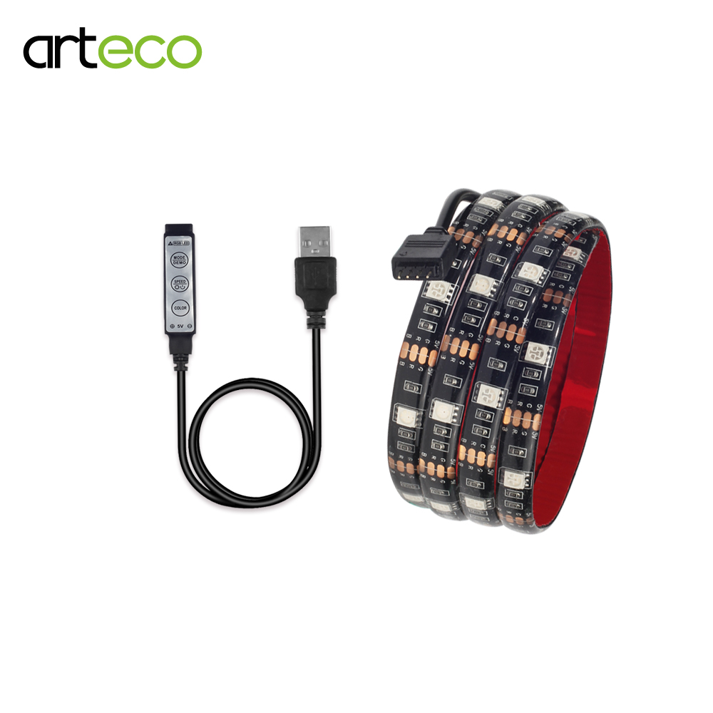 DC5V USB LED strip 5050 RGB Mini 3Key Controller 0.5M 1M 2M TV Background Light RGB LED Flexible Light strip