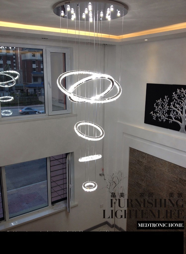 Lights & Lighting Chandeliers 5 Circle Ring Modern High Quality Penthouse Floor Living Room Led Chandeliers Creative Villa Long Circular Staircase Lights Pleasant To The Palate