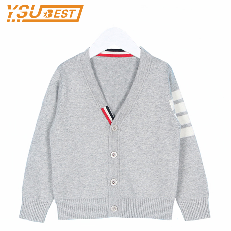 1-6yrs Baby Boys Cardigan Sweater Children Outerwear & Coats 2017 Autumn Fashion Brand Cotton V-neck Knit Sweater Girl Kids Coat dark wash long denim coat jacket with hooded
