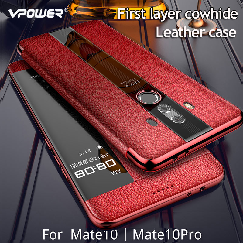 Image 3 - For Huawei Mate 10 Pro 9 pro Genuine leather case Phone protection windows view true flip leather case cover for huawei mate 10-in Flip Cases from Cellphones & Telecommunications