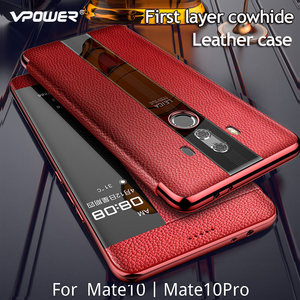 Image 3 - For Huawei Mate 10 Pro 9 pro Genuine leather case Phone protection windows view true flip leather case cover for huawei mate 10