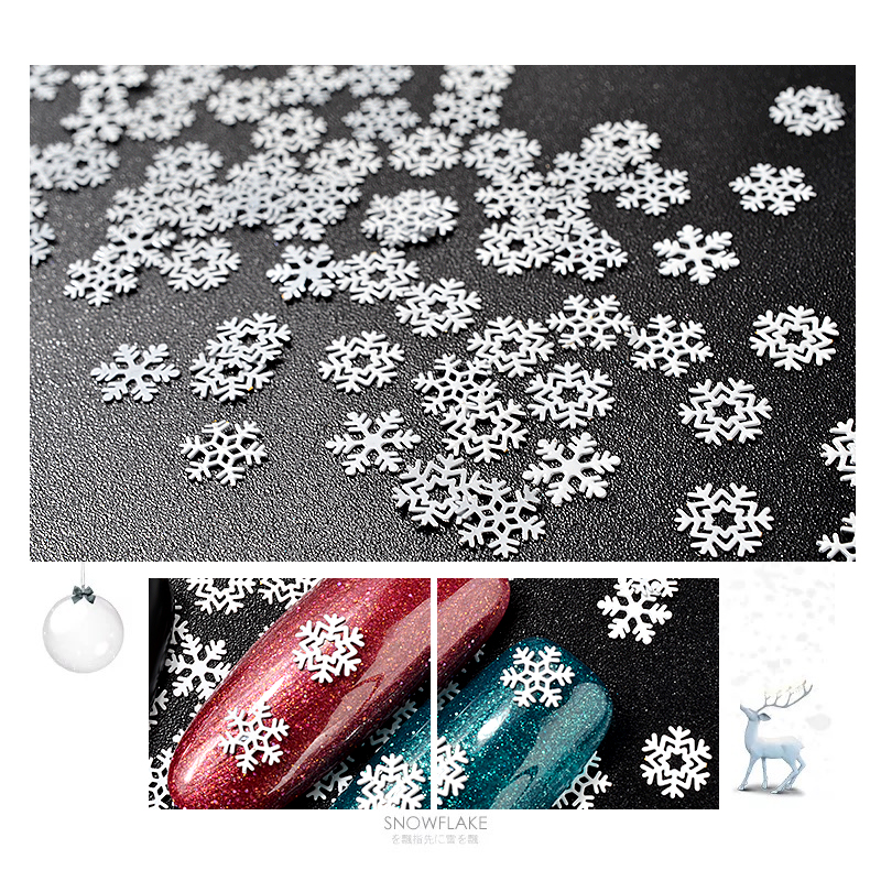 1 Box Christmas Nail Art Sticker Decorations Mix Snowflake Designs White Metal Slice Sequins Manicure Accessories For Nails DIY in Rhinestones Decorations from Beauty Health
