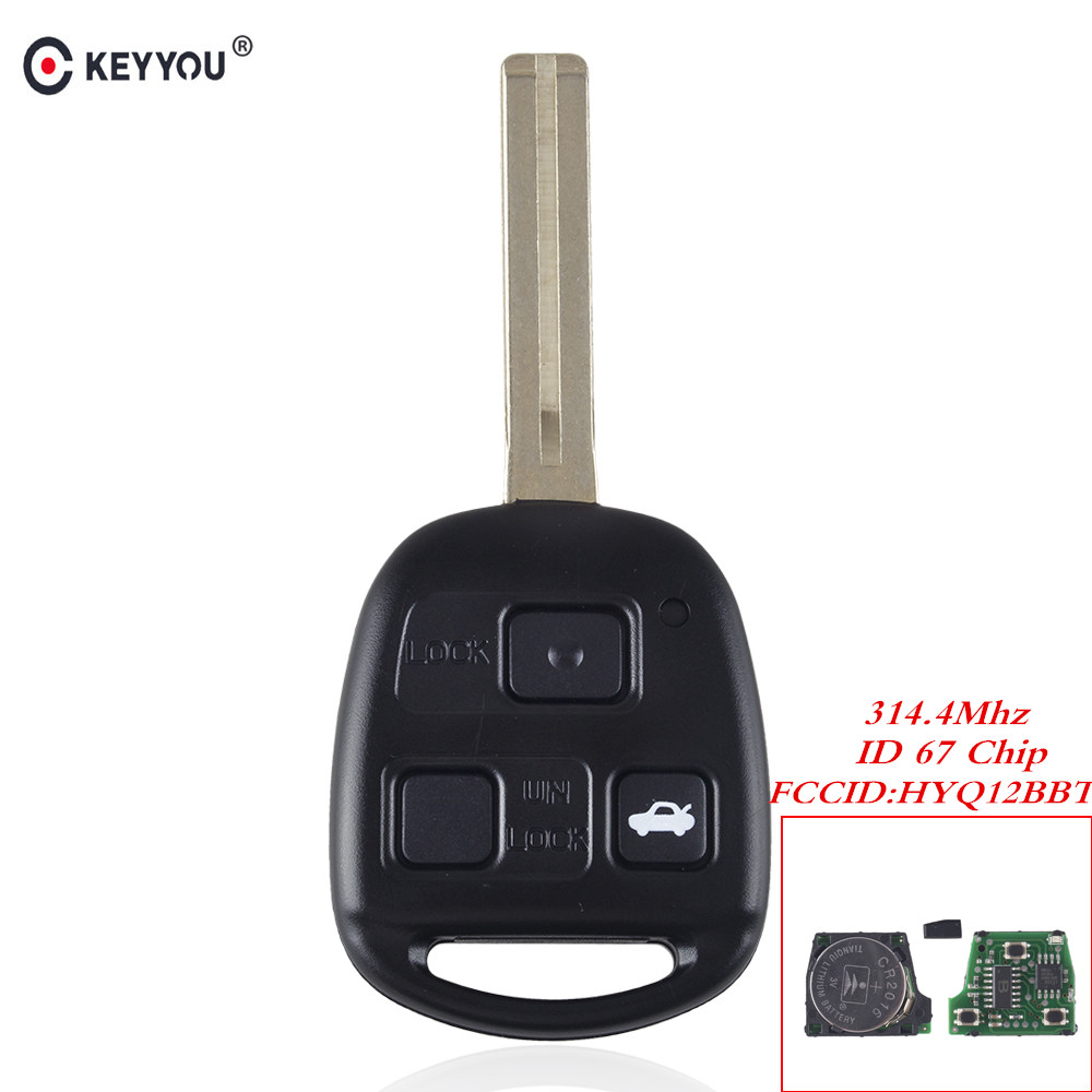 KEYYOU For Lexus RX350 RX450h RX400h RX330 EX330 2004-2010 Remote Entry Ignition Power Key Fob 3 Buttons HYQ12BBT 4D67 315Mhz