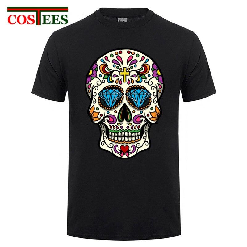 Robes verano 2017 kanye west shirt homme Sucre mexicain crâne imprimer t shirt hommes de remise en forme mince t-shirt homme vêtements pas cher vente