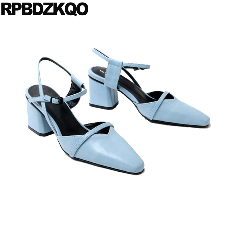 Medium Heels High Slingback Elegant Women Shoes Square Toe Japanese Pumps Ankle Strap Sandals Blue Block Size 4 34 2018 Cool round toe beige strap ladies metal high heels medium chunky modern block slingback size 4 34 sandals shoes 2017 summer pumps new