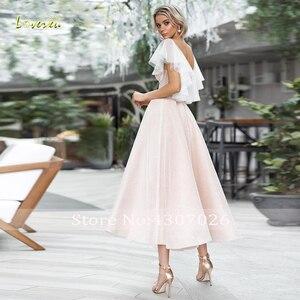 Image 2 - Loverxu pırıltılı v yaka bir çizgi kokteyl elbise şık aplike kap kollu Backless çay boyu parti elbiseler hiç Pretty artı boyutu