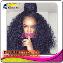 7A 100% virgin human hair high density curly lace front wig glueless, free shipping hign density lace front wigs