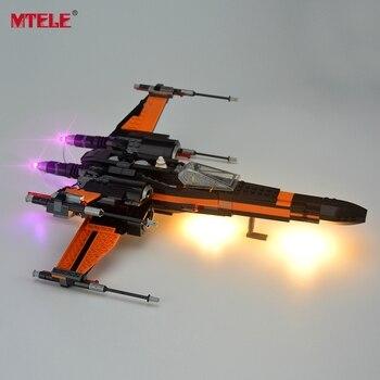 MTELE العلامة التجارية مصباح ليد يصل كيت ل كتل حرب النجوم Poe المرأة X-الجناح مقاتلة بناء كتلة ضوء مجموعة متوافق مع نموذج 75102