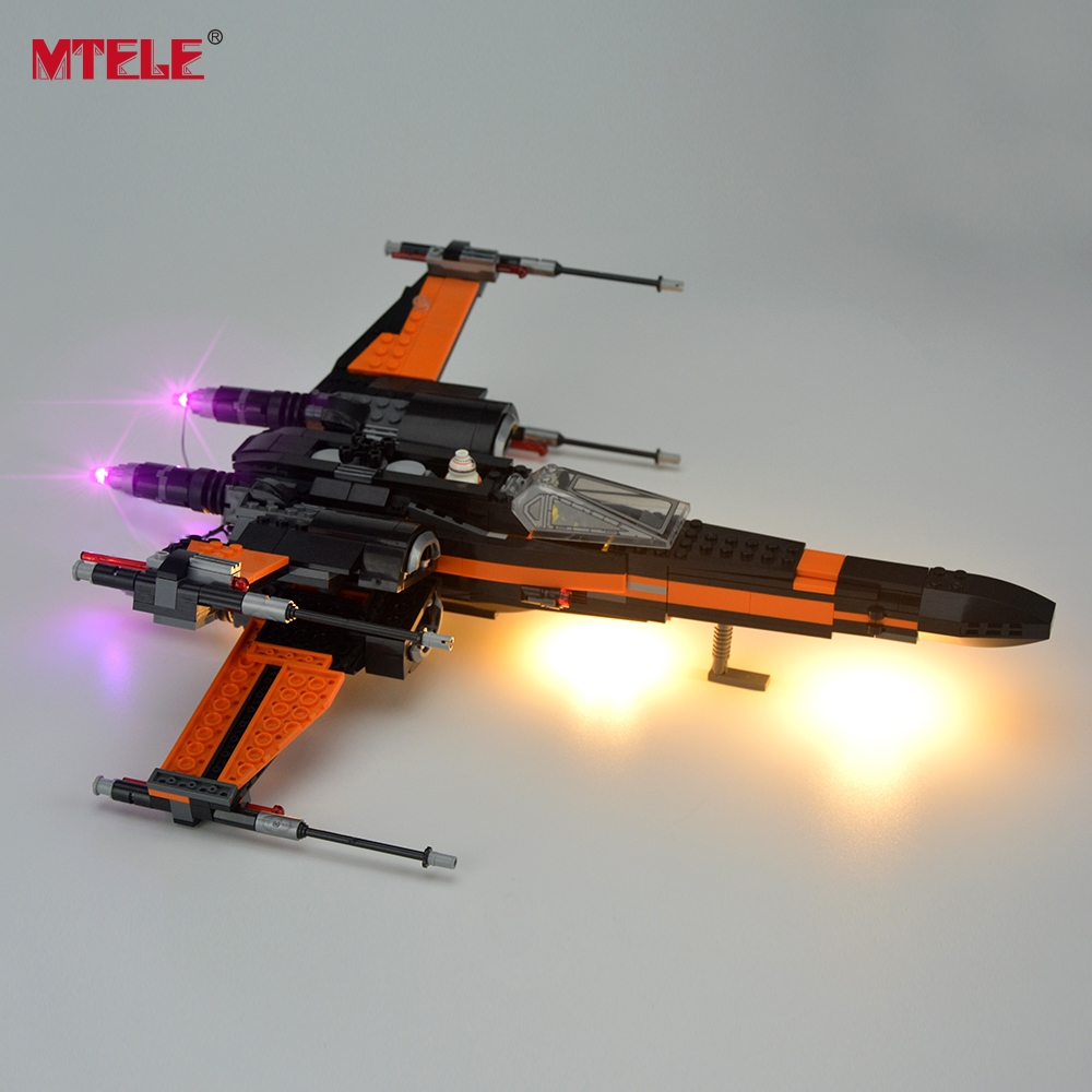 MTELE Brand LED Light Up Kit För Block Star Wars Poe X-Wing Fighter Byggblock Light Set Kompatibel med Lego 75102