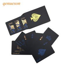 New Quality Plastic PVC Poker Smooth Waterproof Black Playing Cards Gold plated